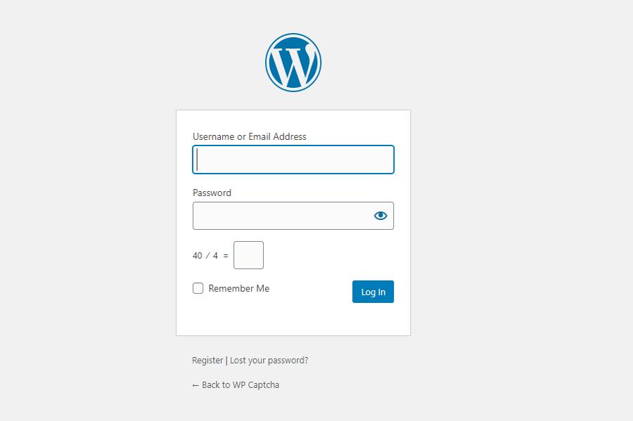 Wordpress Login form with WP Captcha.