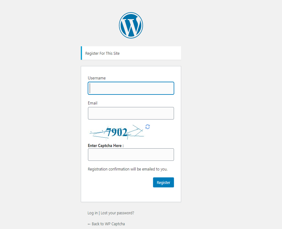 Wordpress Registration form with WP Captcha.