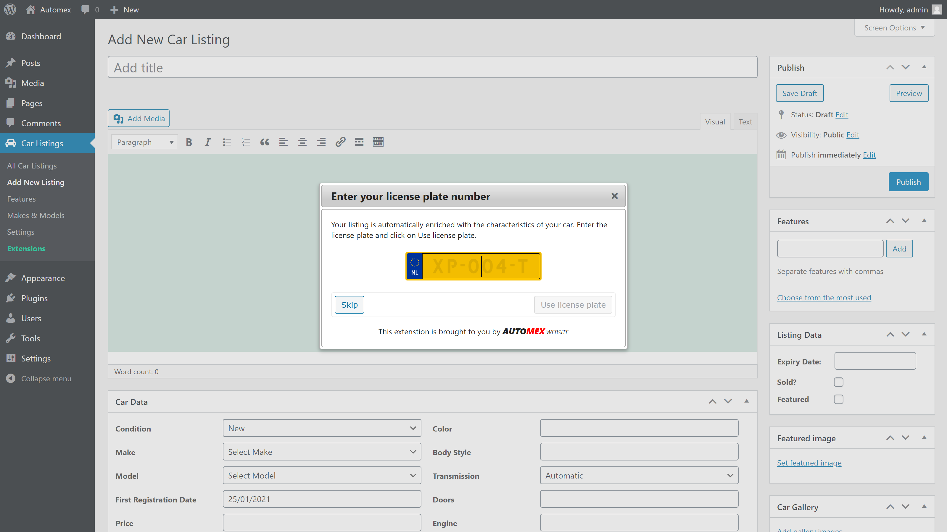 Admin Area (Add New Listing -> Enter your license plate number dialog).