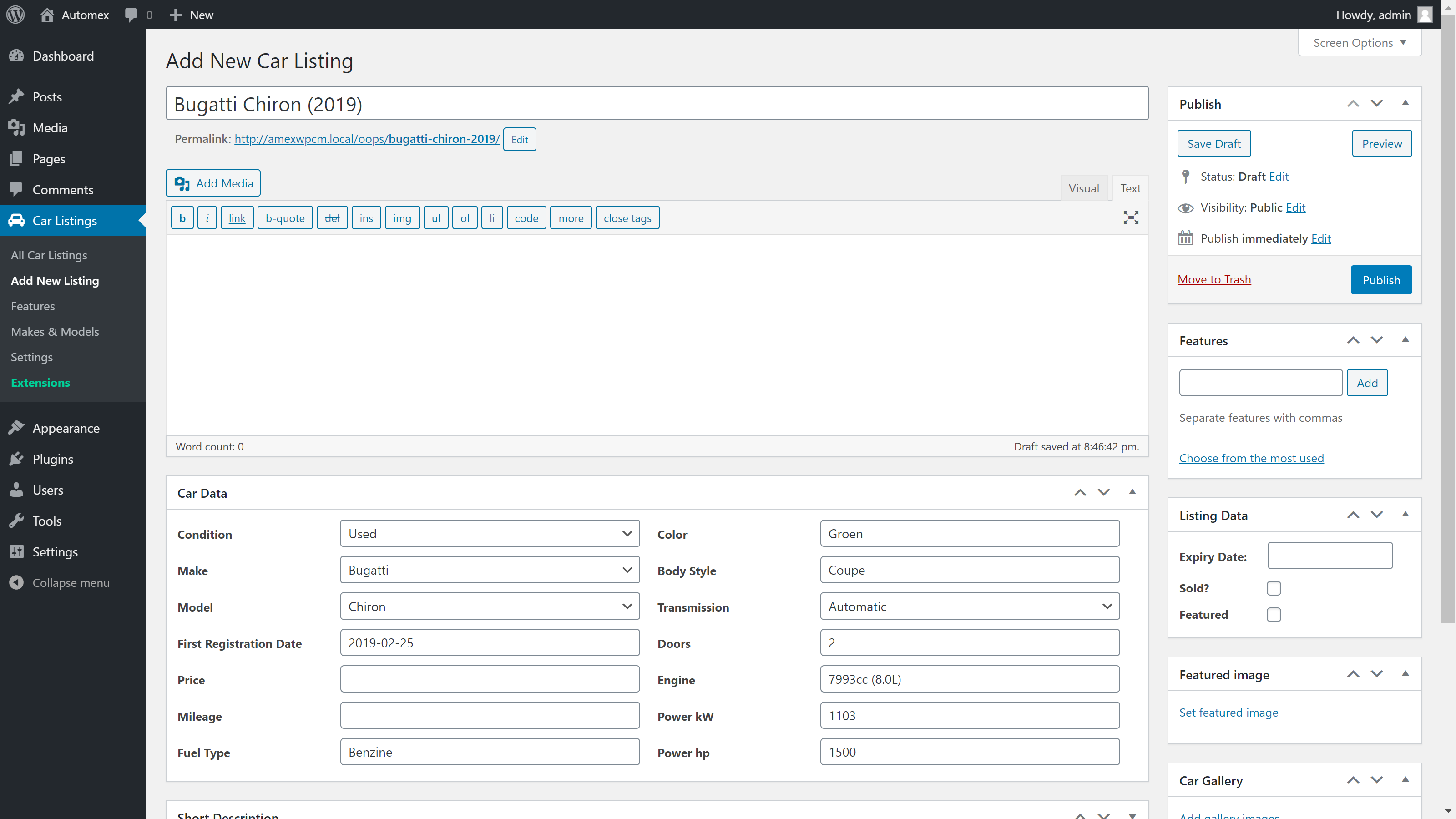 Admin Area (Add New Listing Overview Page with filled in data).