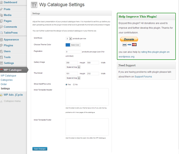 Choose the desired settings for your new digital catalogue in WordPress