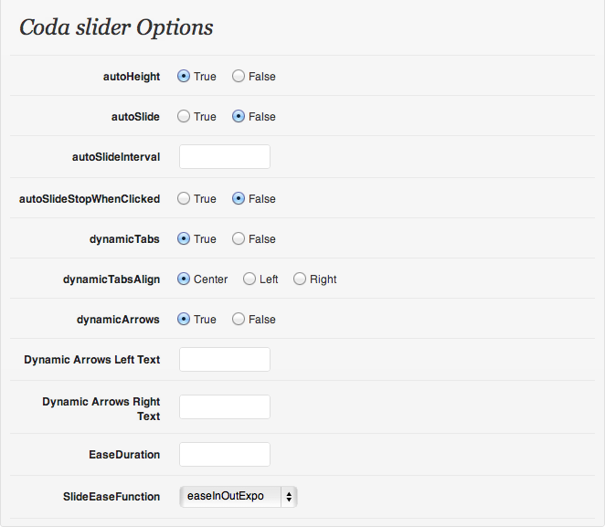 The coda slider options