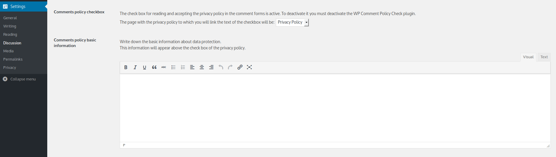 Setting fields on comments setting page.