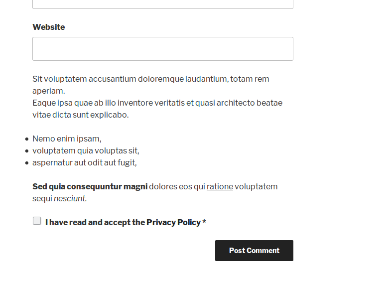 Basic policy information, policy checkbox and link printed on the bottom of the comment form, before the submit button.