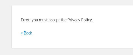 Error message if the policy checkbox is not checked.