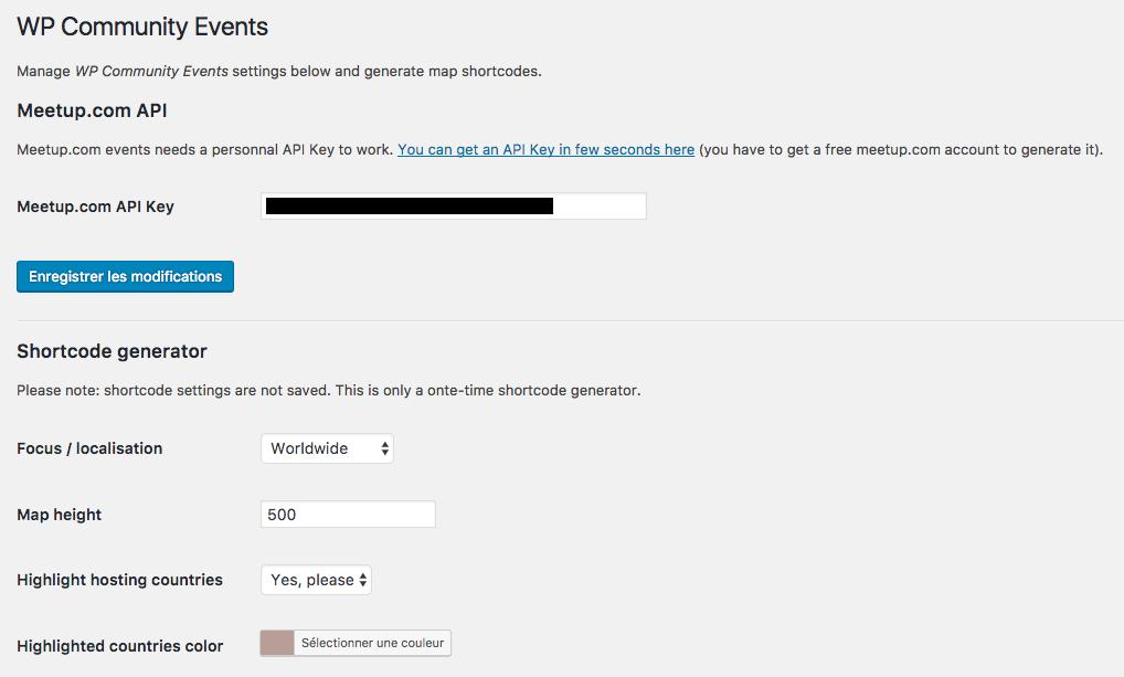 Meetup.com API Key and Shortcode parameters (1).