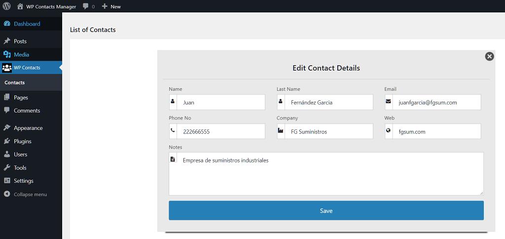 Edit Contacts Details