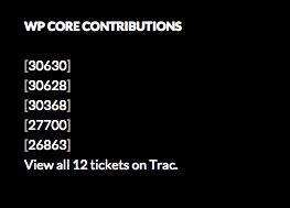 Core Contributions Card View (Shown in Twenty Fourteen Theme)