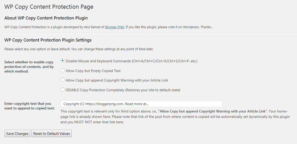 WP Copy Content Protection Plugin Settings Interface.