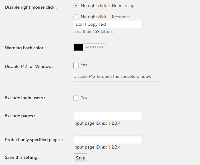 WP Content Copy Protection with Color Design