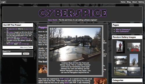 An example of the widget in use on a blog.  This is my blog at http://www.cyberspice.org.uk/blog/