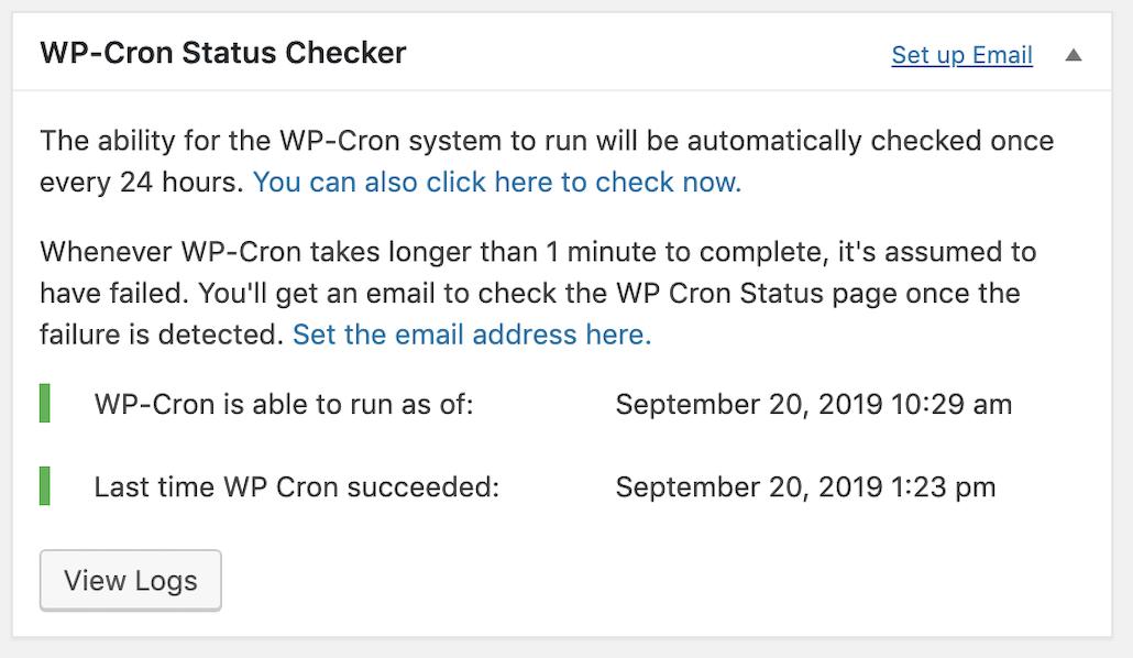 WP-Cron(自動実行)が機能しているかをチェックできるプラグイン「WP-Cron Status Checker」