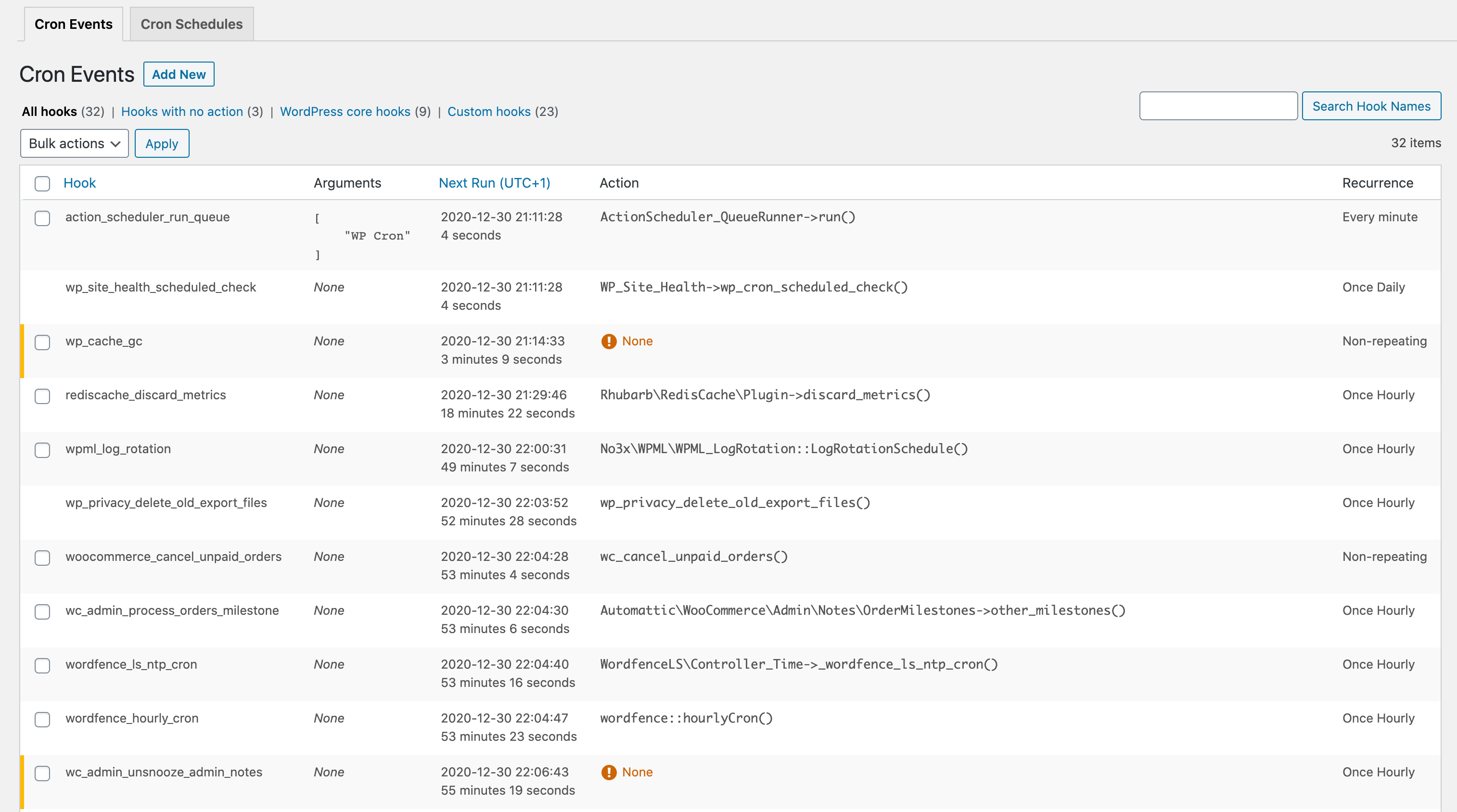 Cron events can be modified, deleted, and executed