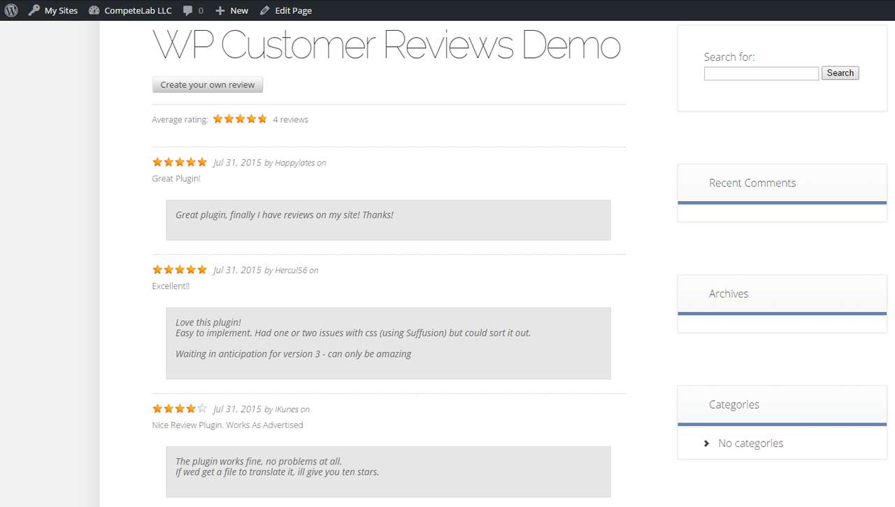 wp-customer-reviews screenshot 1