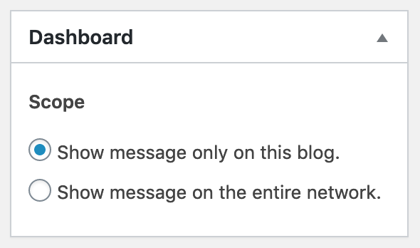 Network admins can publish messages either on the current blog or on the entire network.