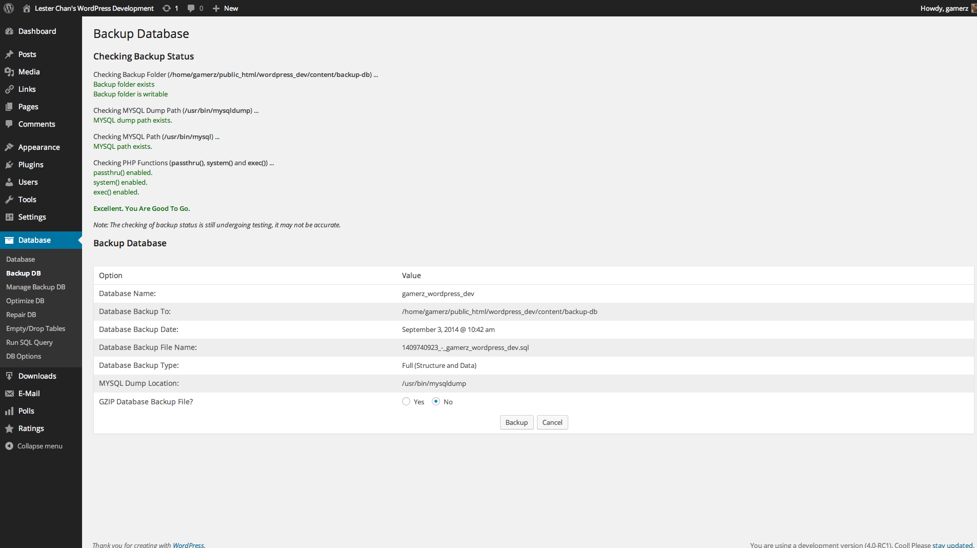 WP-DBManager's Screenshot: Admin - Backup DB