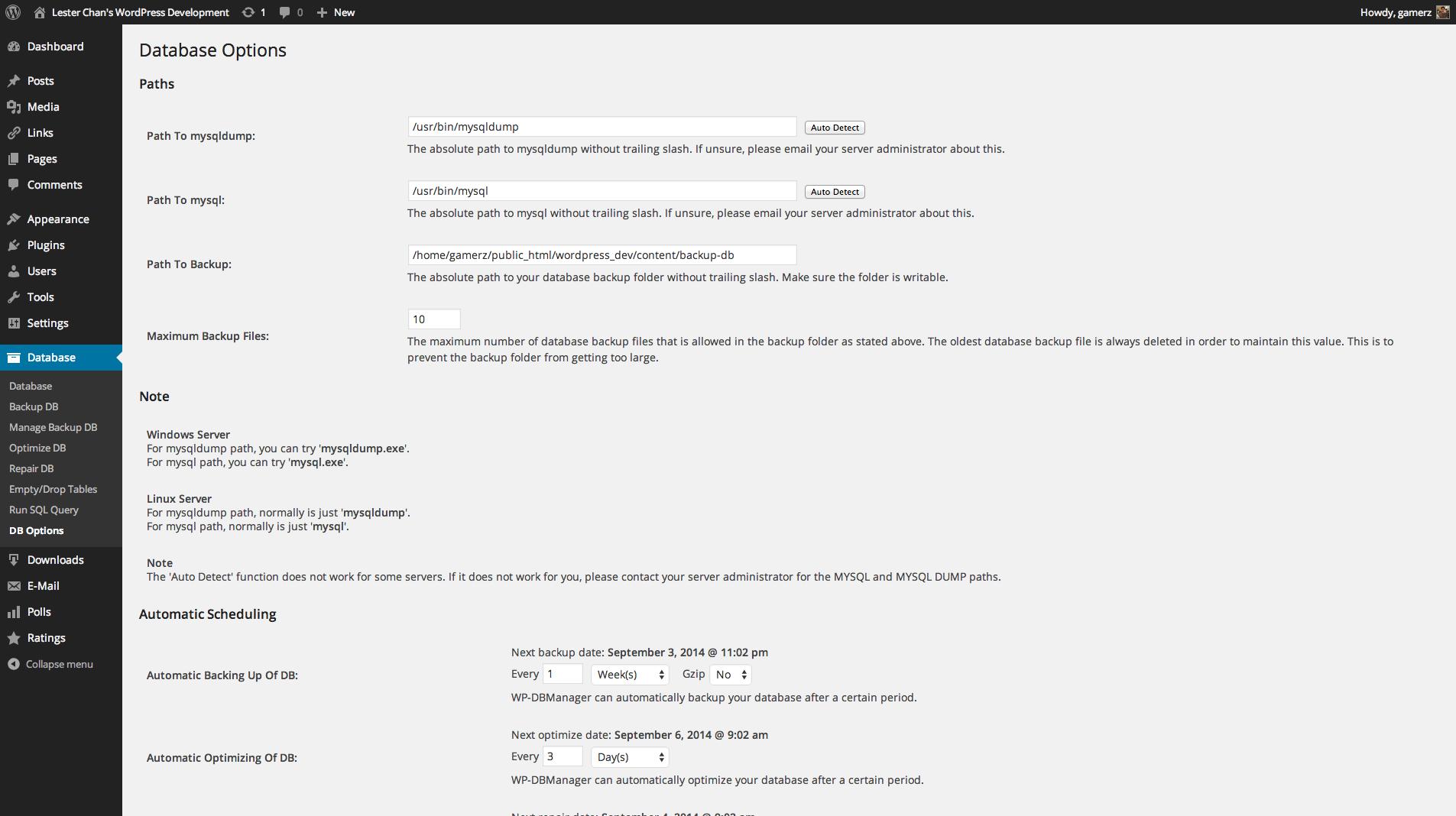 WP-DBManager's Screenshot: Admin - DB Options