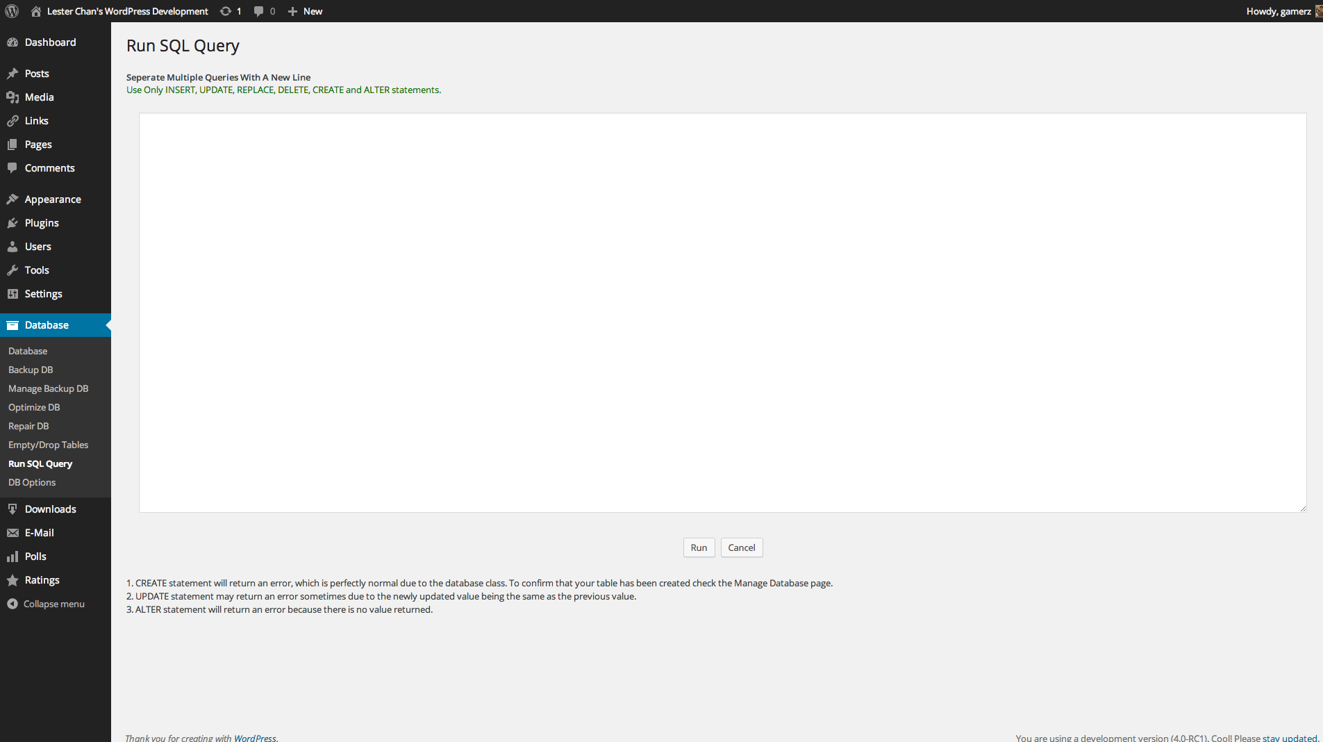 wp-dbmanager screenshot 9