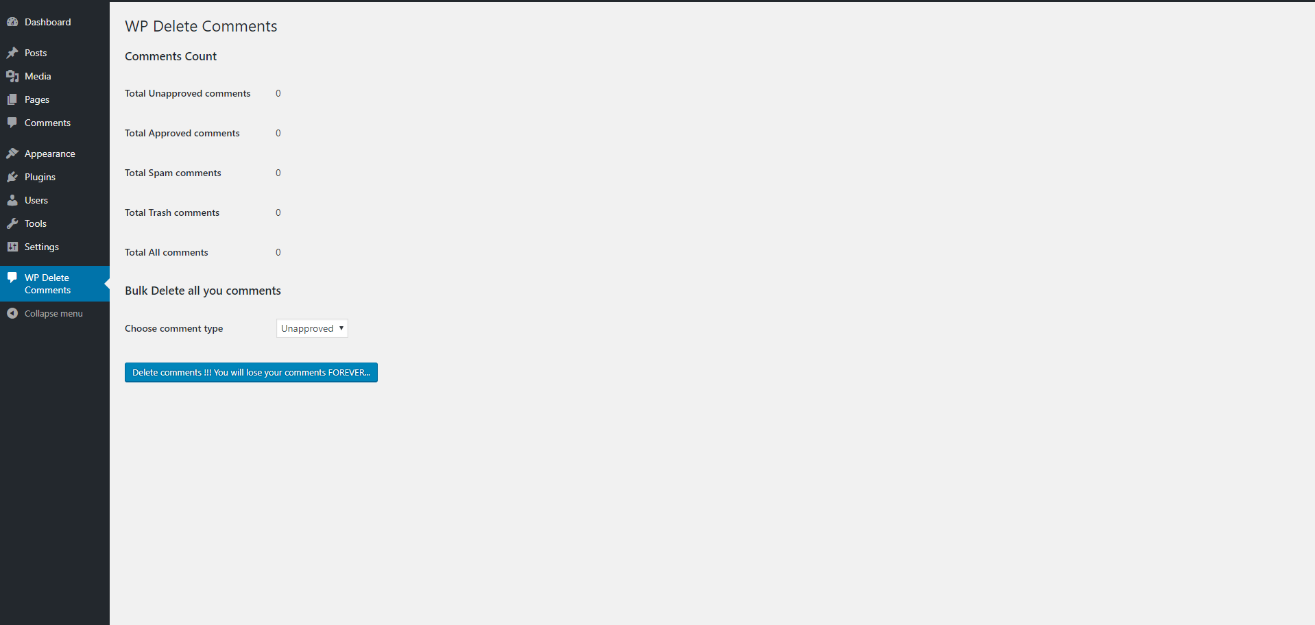 This is the screenshot of plugin page where you can delete your comments.