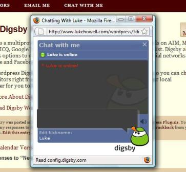 Digsby Chat Window in PopUp (New window if javascript is disabled).
