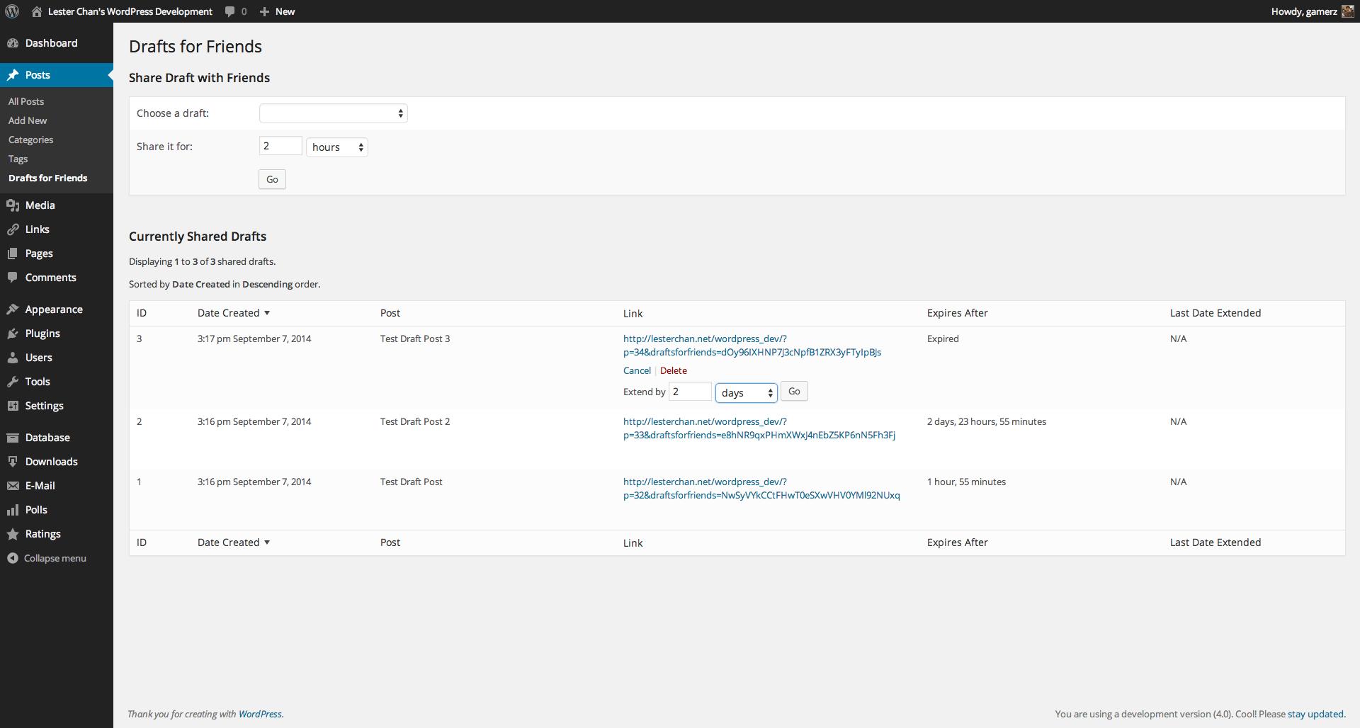 WP-DraftsForFriends's Screenshot: Extending Expiry of Shared Draft