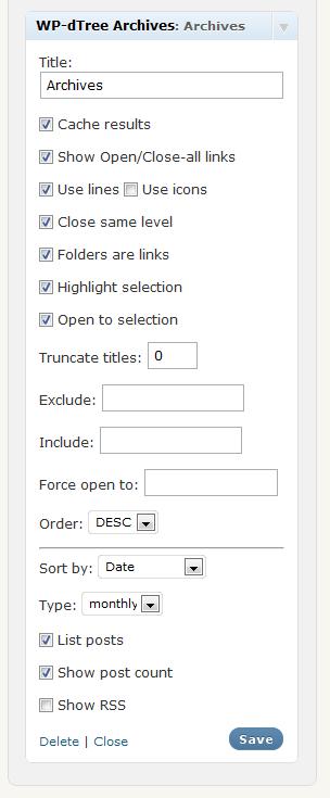 The archive widget configuration screen
