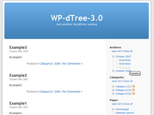 Archives, pages and categories (with post count and RSS-icons enabled).