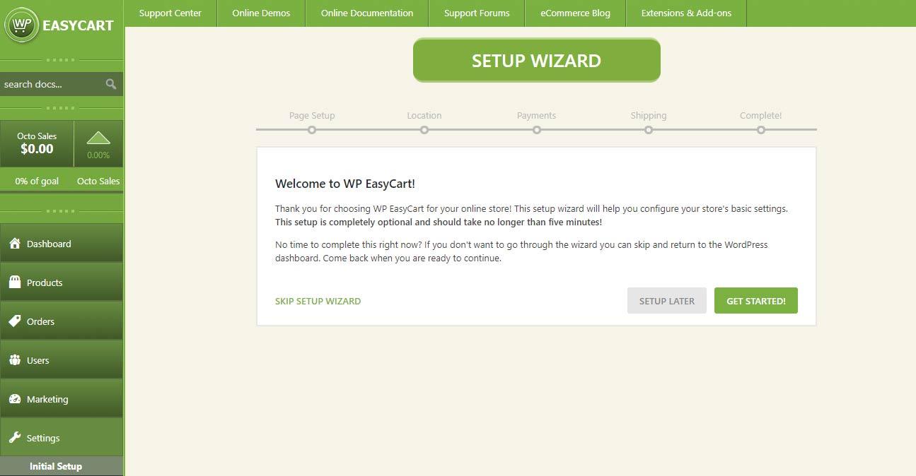 Administrative Wizard for 5 step setup process!