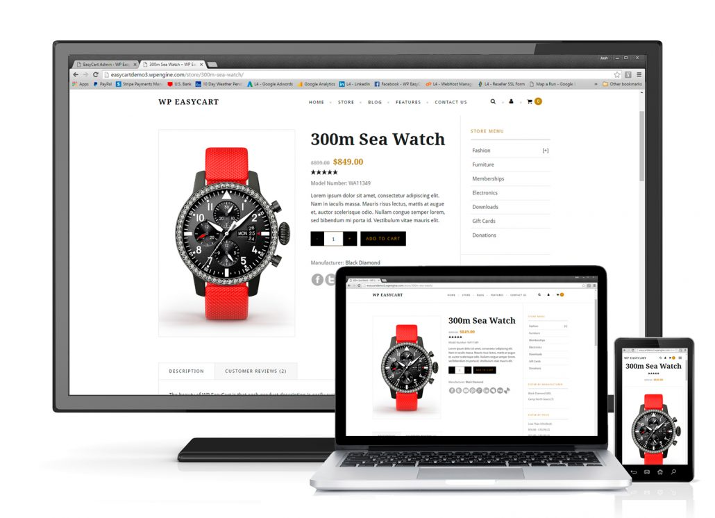 Responsive Design for mobile, tablet, and desktop!