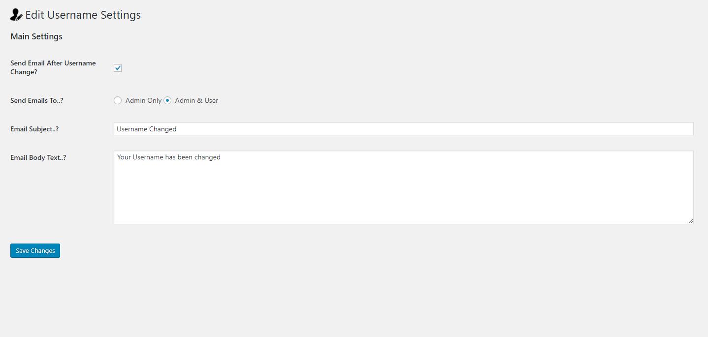 Settings panel for WP Edit Username Plugin.