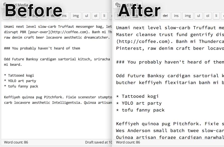Text editor comparison.