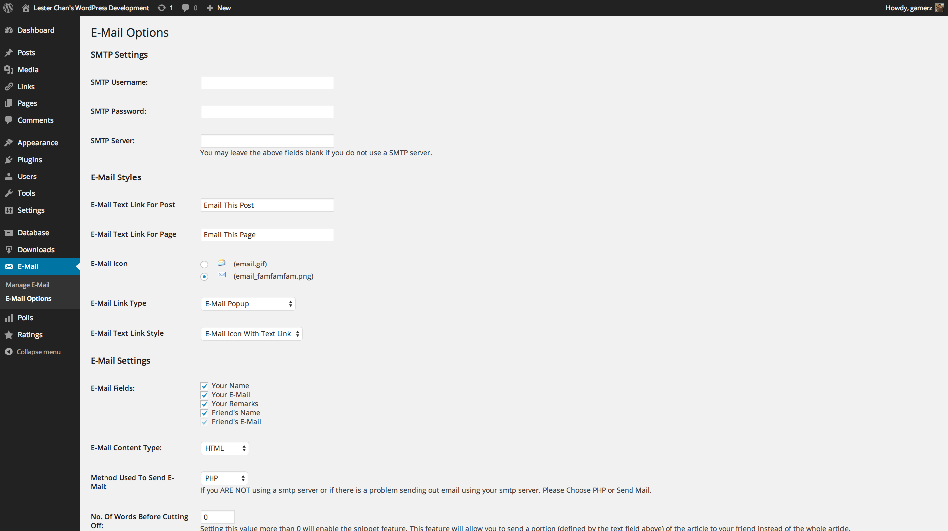 WP-EMail's Screenshot: Admin - Options Page