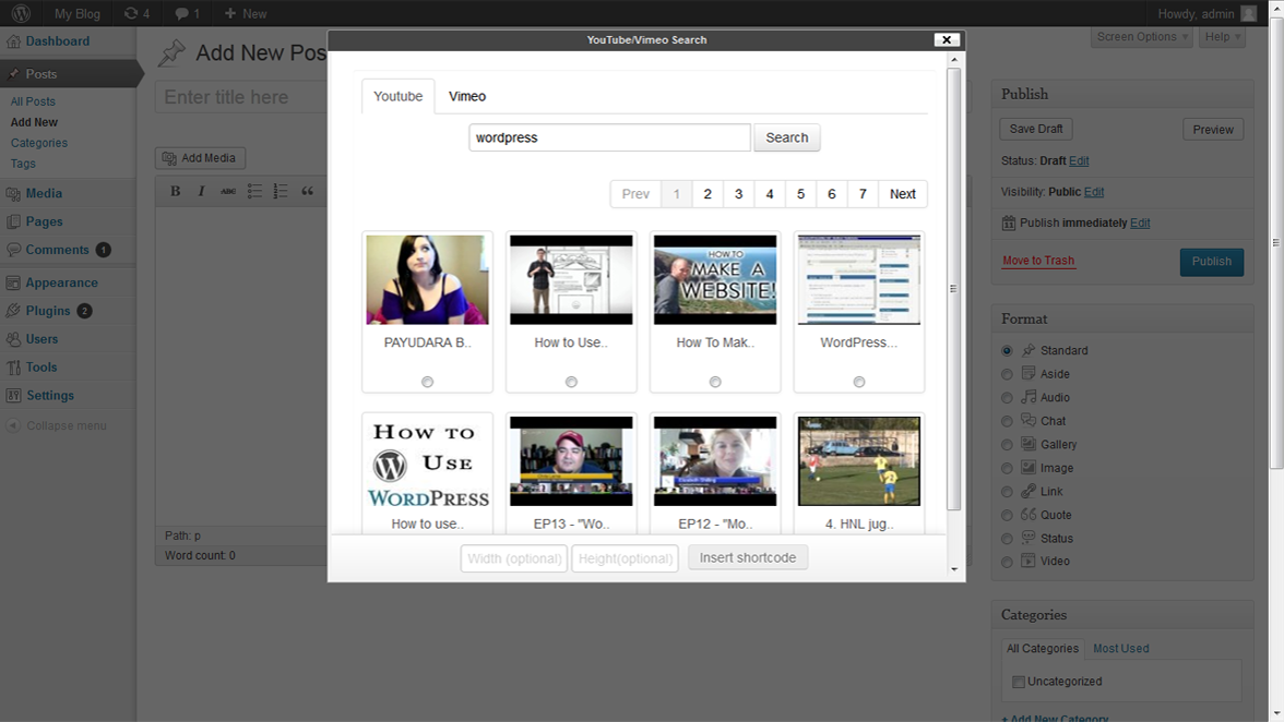 Actual video search along with search parameter for the youtube.
