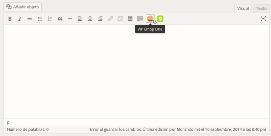 Click on the WP Emoji One button in the visual editor.