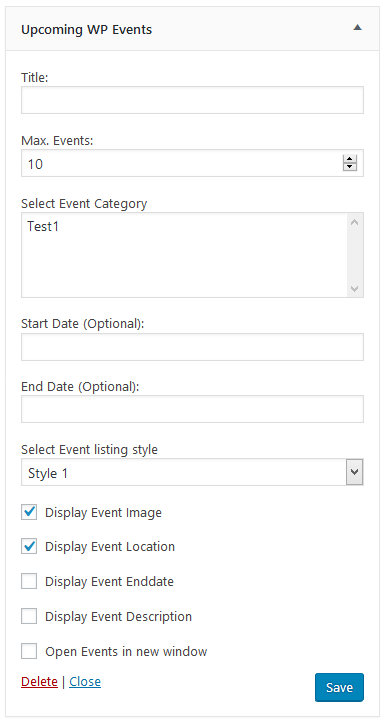 Upcoming WP Events widget in backend (Pro)