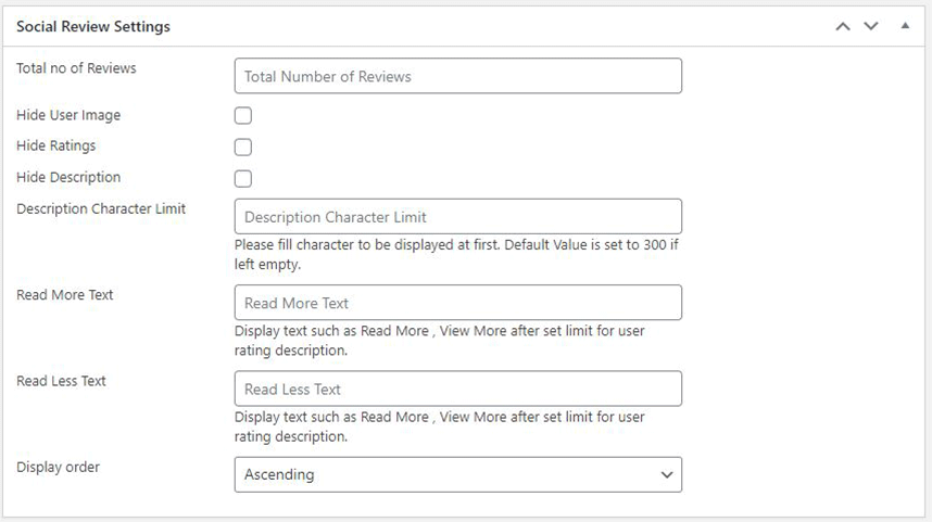 Backend - Facebook Review Settings