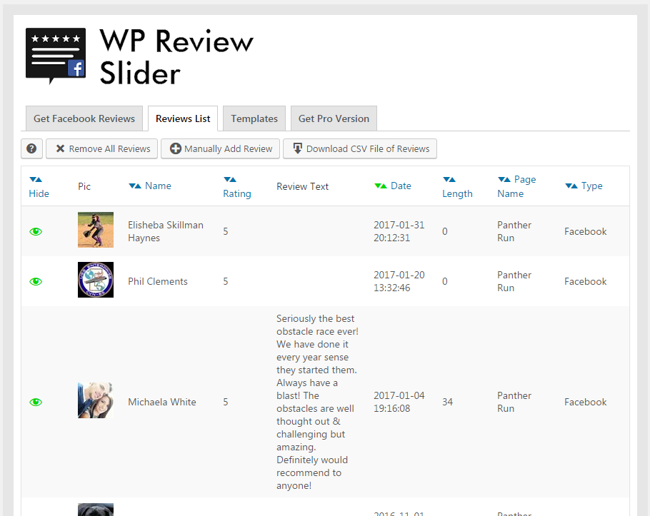 WP Review Slider for Facebook & Twitter – WordPress plugin