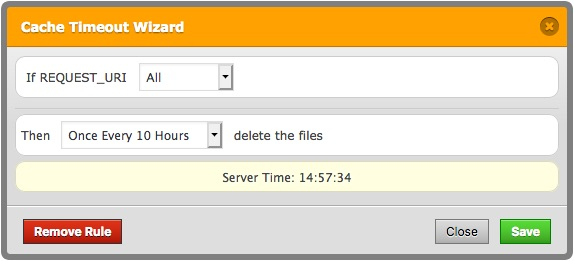 All cached files are deleted at the determinated time