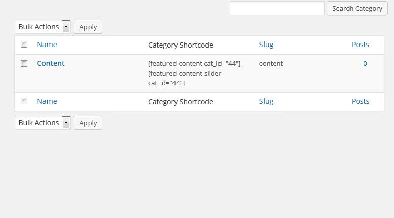 Category Shortcode