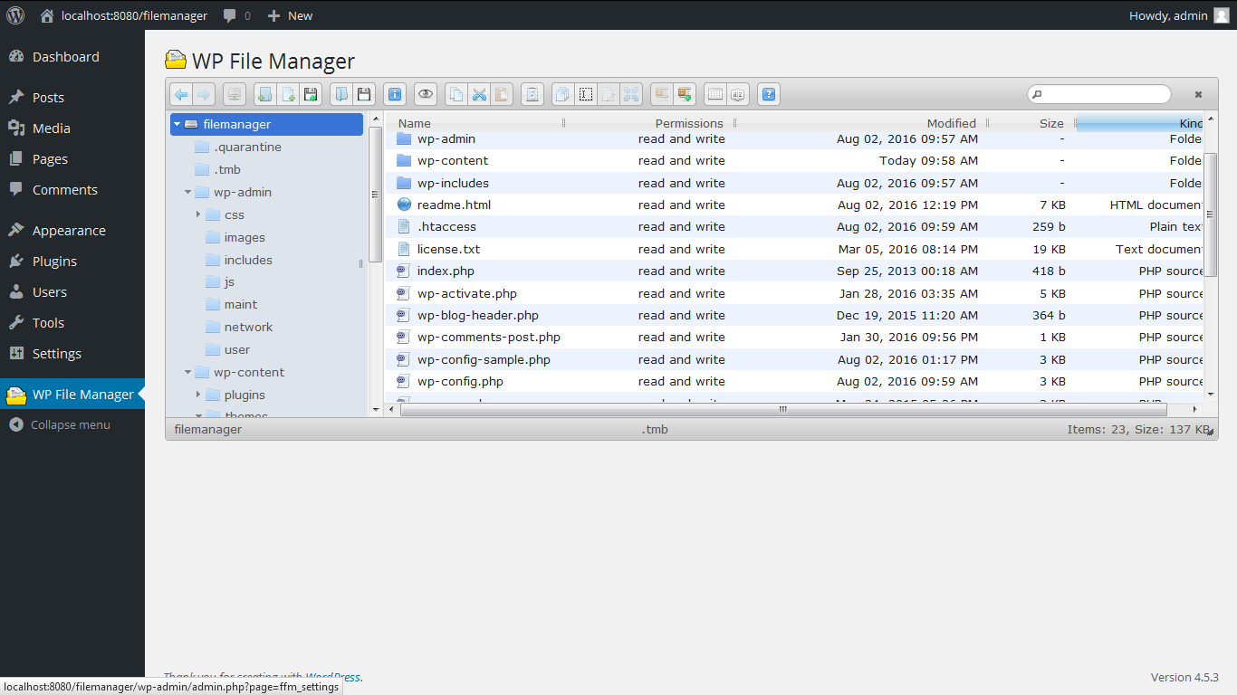 File Manager – WordPress plugin | WordPress org