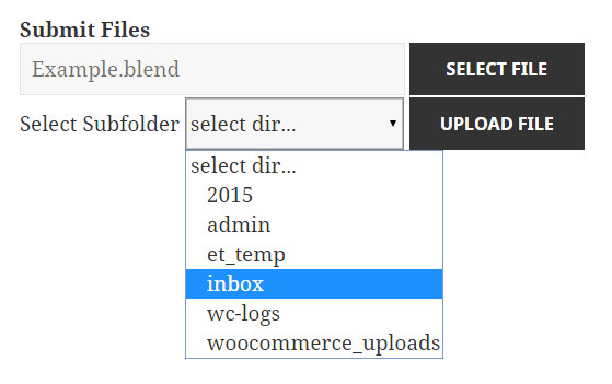 A screenshot of the plugin with subfolder selection.