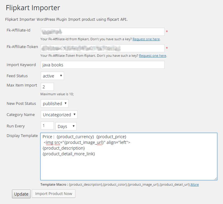 screenshot-1.png  : screenshot admin WP Flipkart Importer section.