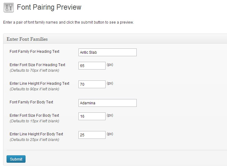 Screen shot showing the settings of this plugin.