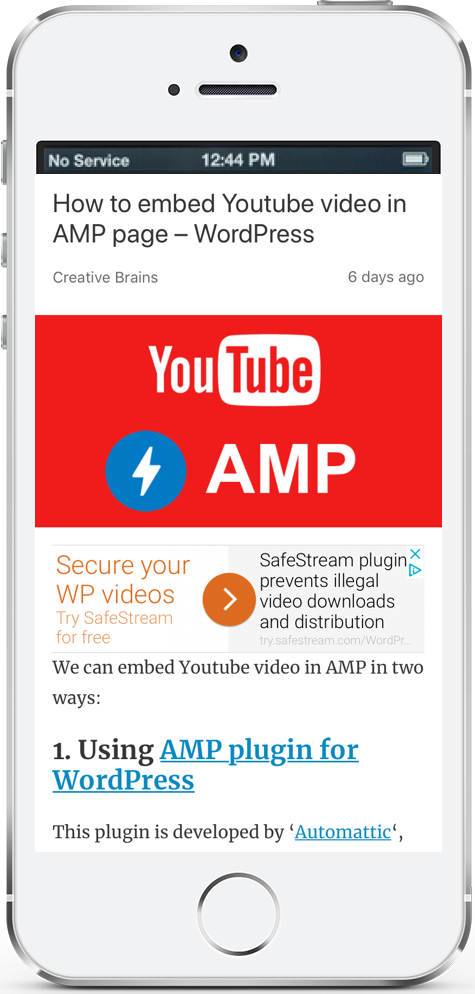 Embed Youtube video in AMP