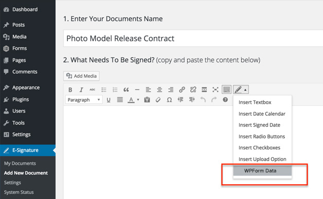 WP Forms Signature Contract Add-On – WordPress plugin