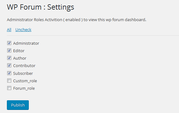screenshoot-3 /assets - ( wp-forum ) settings option - user roles options actions for view control attribute .