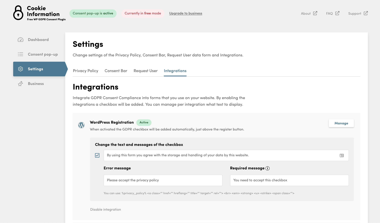 WP GDPR Compliance – WordPress plugin | WordPress org