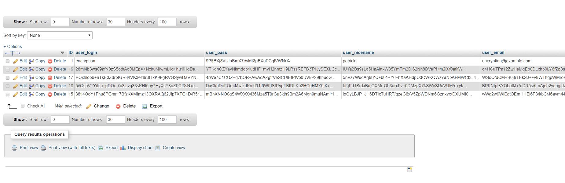 Encrypted User Database