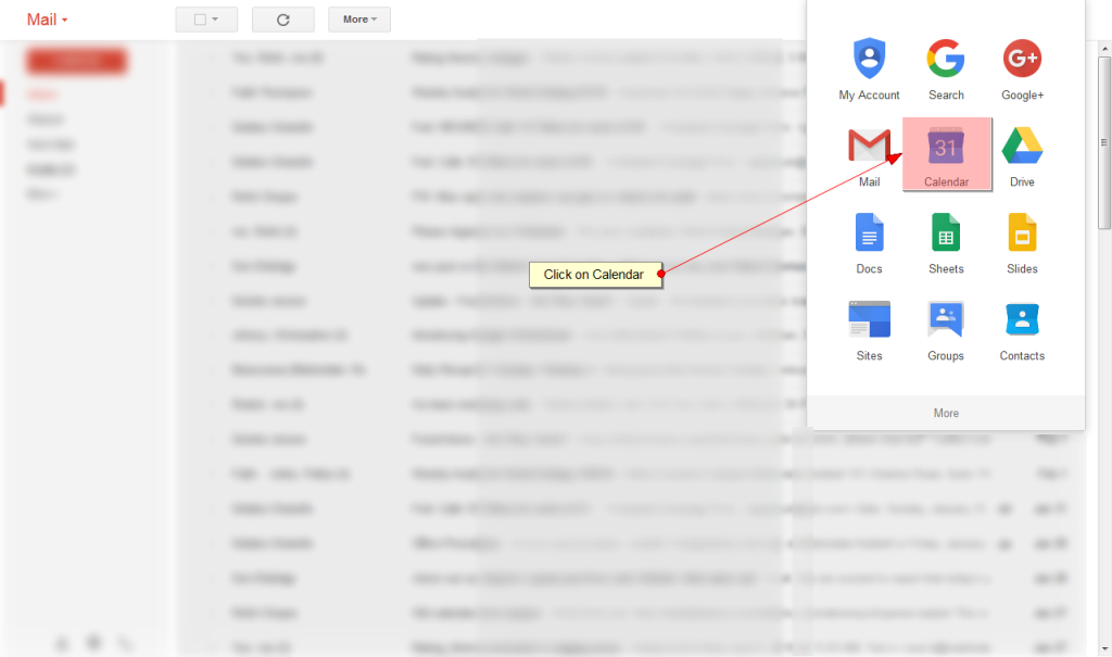 Login to your Gmail Account and Select Calendar Option