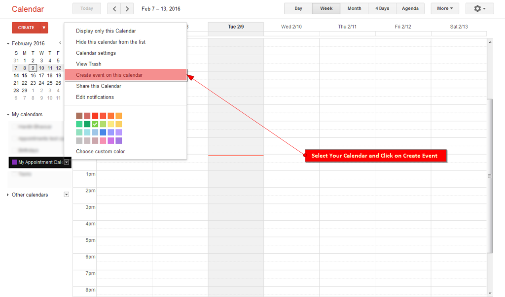 Select Calendar and click on Create Event